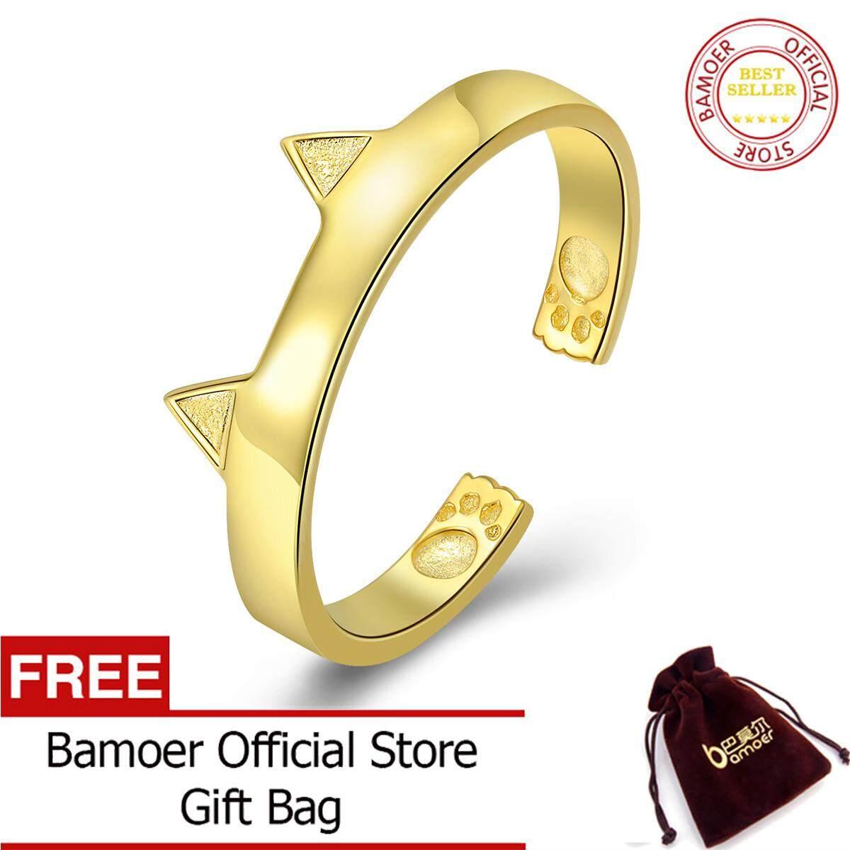 Bamoer Gratis Shpping 100 925 Perak Berkilau Agustus 3 Warna Kucing Telinga Hewan Disesuaikan