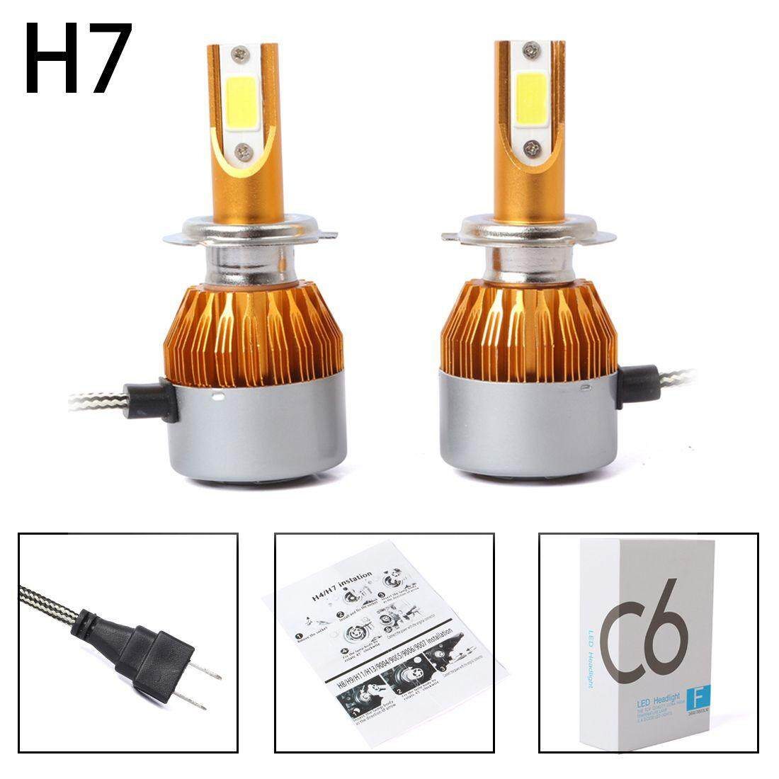 hight resolution of 2pcs c6 led car headlight kit cob h7 36w 7600lm white light bulbs gold
