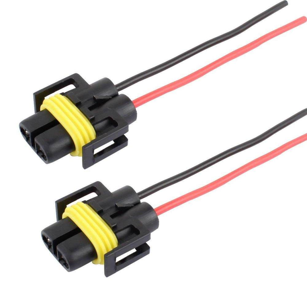 medium resolution of olizard 2pcs h11 h8 female head extension connector plug socket with wire harness heavy duty