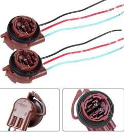 elec 3157 led bulb brake turn signal light lamp socket adapter harness wires plug [ 1005 x 1005 Pixel ]