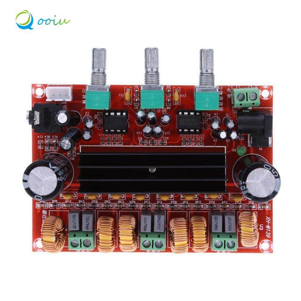 hight resolution of qooiu durable version high power amplifiers dual chip tpa3116d2 50wx2 100w 2 1 path digital subwoofer