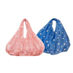 2Pcs New Style Hand Bag Fresh and Western Style Small Daisy Embroidery Tulle Bag Female Underarm Bag