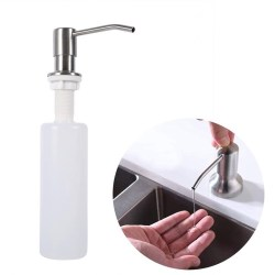 300Ml Kitchen Sink Hand Soap Dispenser Plastic Bottle Liquid Under Brushed Nickel Headfor Bathroom and Kitchen-Silver