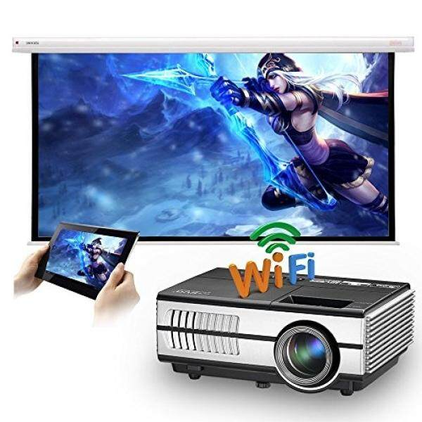 LED Mini Pintar Wifi Projector 1500 Lumens untuk iPhone Samsung Smartphone, eug Portabel HDMI Nirkabel HD Android LCD Luar Ruangan Rumah Cinema Theater Projector Miracast Airplay 1080 P untuk Permainan Film Pesta -Internasional