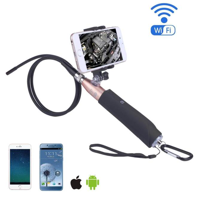 Ouhofus Nirkabel Endoskopi-iPhone Android WIFI Borescope Video Inspection Kamera. 2 Juta Piksel HD Ular Kamera Anti-Air USB HD 720 P 6 LED Endoskopi Industri untuk Android/Jendela/IOS (1 M) -Internasional
