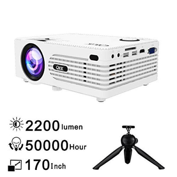 "QKK 2200Lumens Video Projector - Full HD LED Projector 1080P Supported, 50,000 Hour Lamp Life with 170"" Big Display for Home Teather, HDMI, TV, SD Card, AV, VGA, USB x2, iPhone, iPad, Android, PS4 - intl"