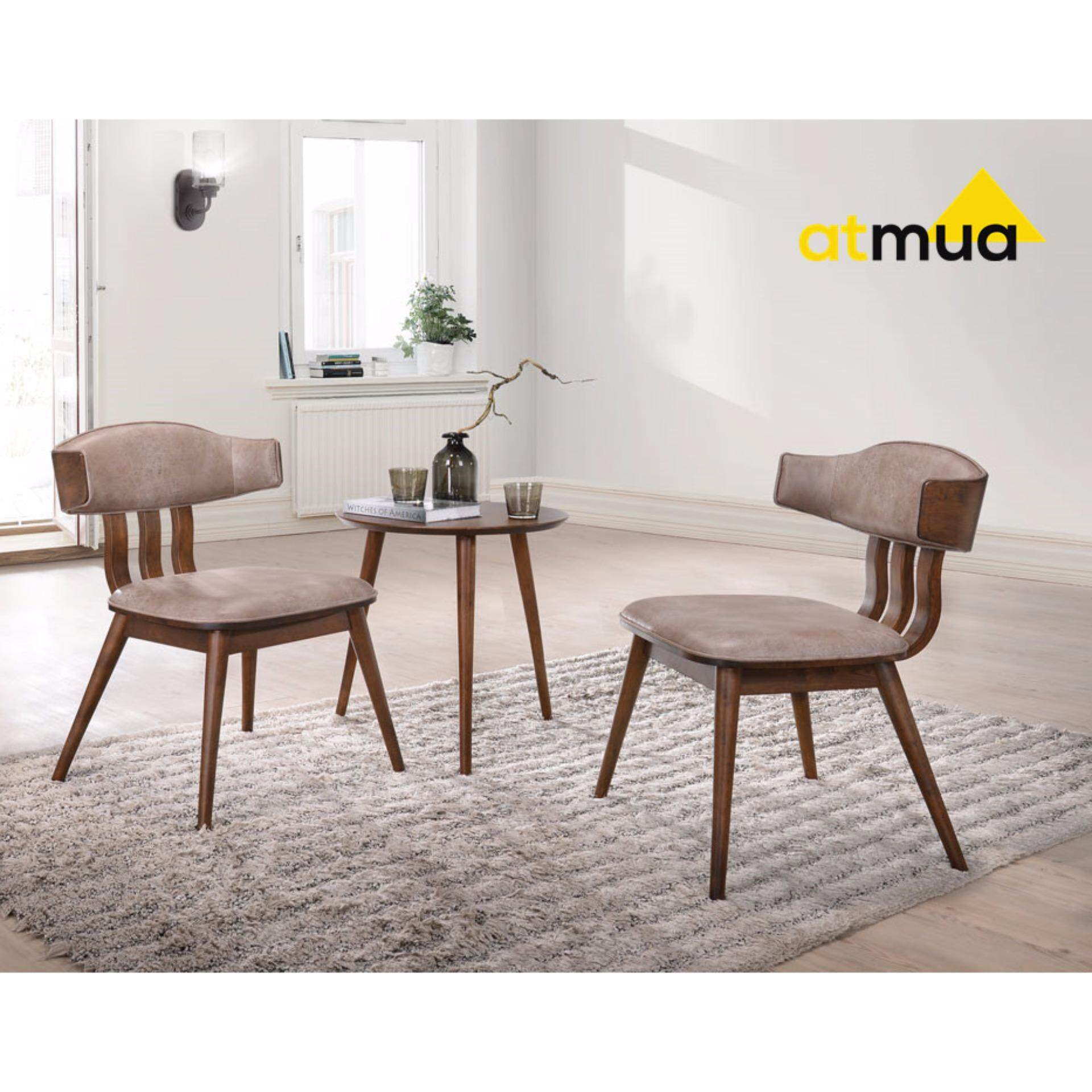 Table With 2 Chairs Atmua Koan Tea Set 2 Chairs 1 Side Table Scandinavian Style Full Solid Wood