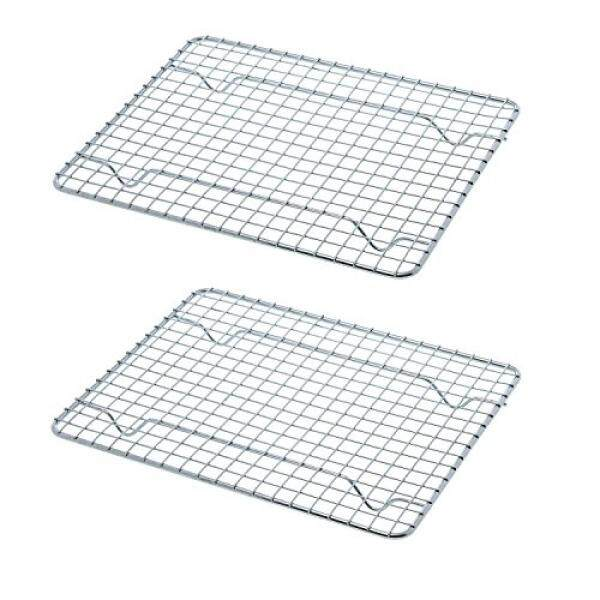 Goson Bakeware Baking, Cooling , Oven Roasting, Broiler Rack, 8in by 10in, Cross Wire, Chrome, Pack of 2, Compatible with Various Baking Sheets Oven Pans - intl