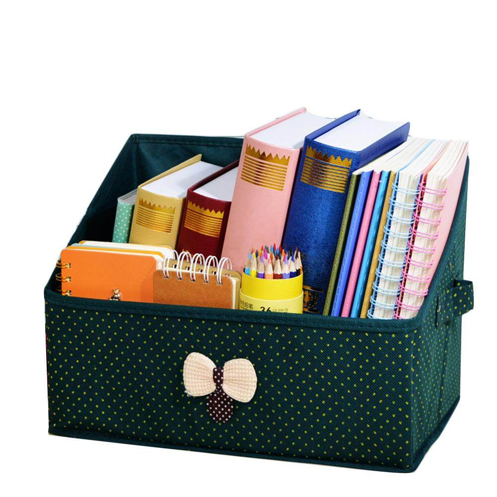Makiyo Multicolor Bowknot Desktop Storage Box Bookcase Student Book Magazine Case - intl