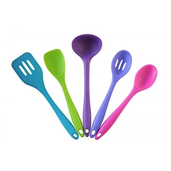 SATURN HOUSE Premium Silicone Kitchen Tools Set, 5 Pc. Colorful Cooking Utensils, Heat-Resistant, FDA-Approved, Dishwasher-Safe, Non-Stick-Cookware-Safe, BPA-Free. BONUS 2 Silicone Muffin Baking Cups. - intl