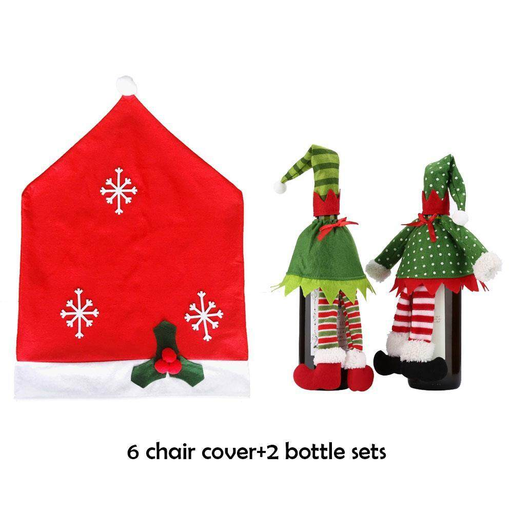 christmas dining room chair covers bar stool wanxinkeji 6 and 2 packs wine bottle for holiday party festival kitchen