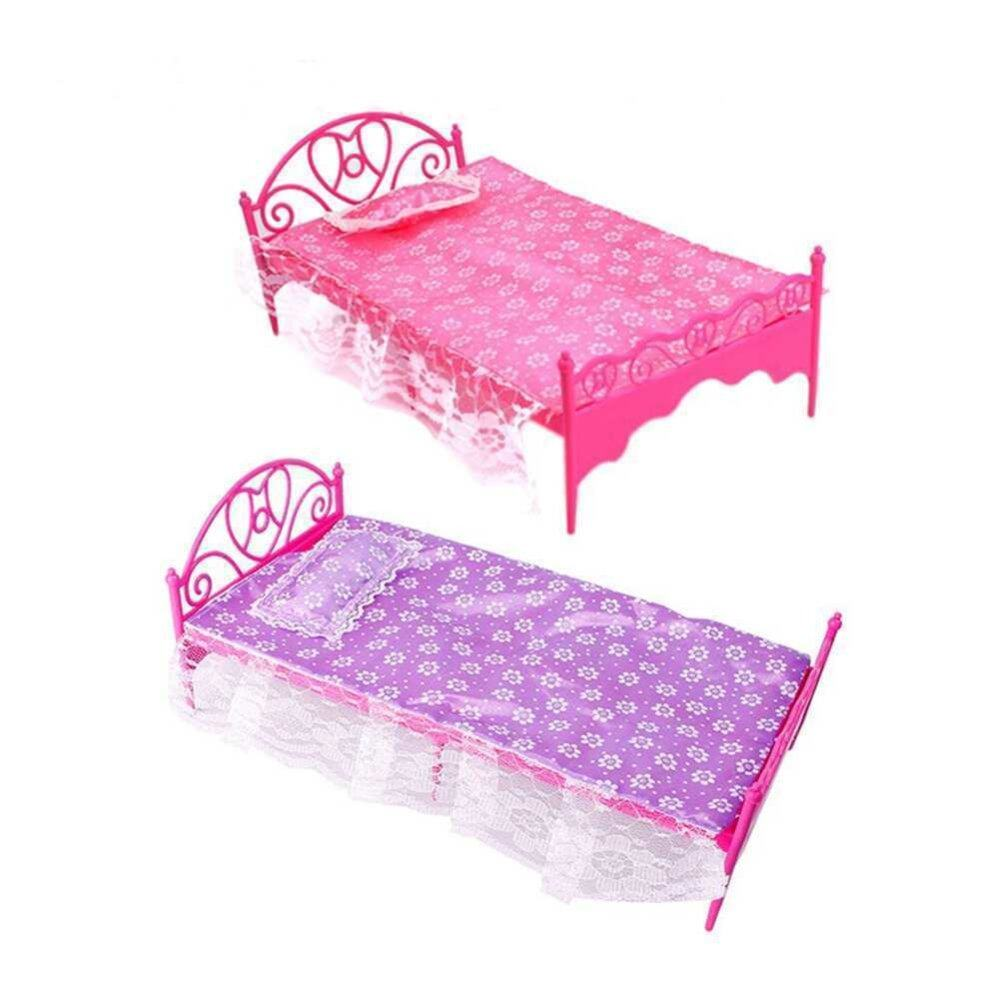 Fang Fang Fashion Plastic Bed Bedroom Furniture Fr Barbie Dolls Dollhouse Pink Newest(Pink) - intl