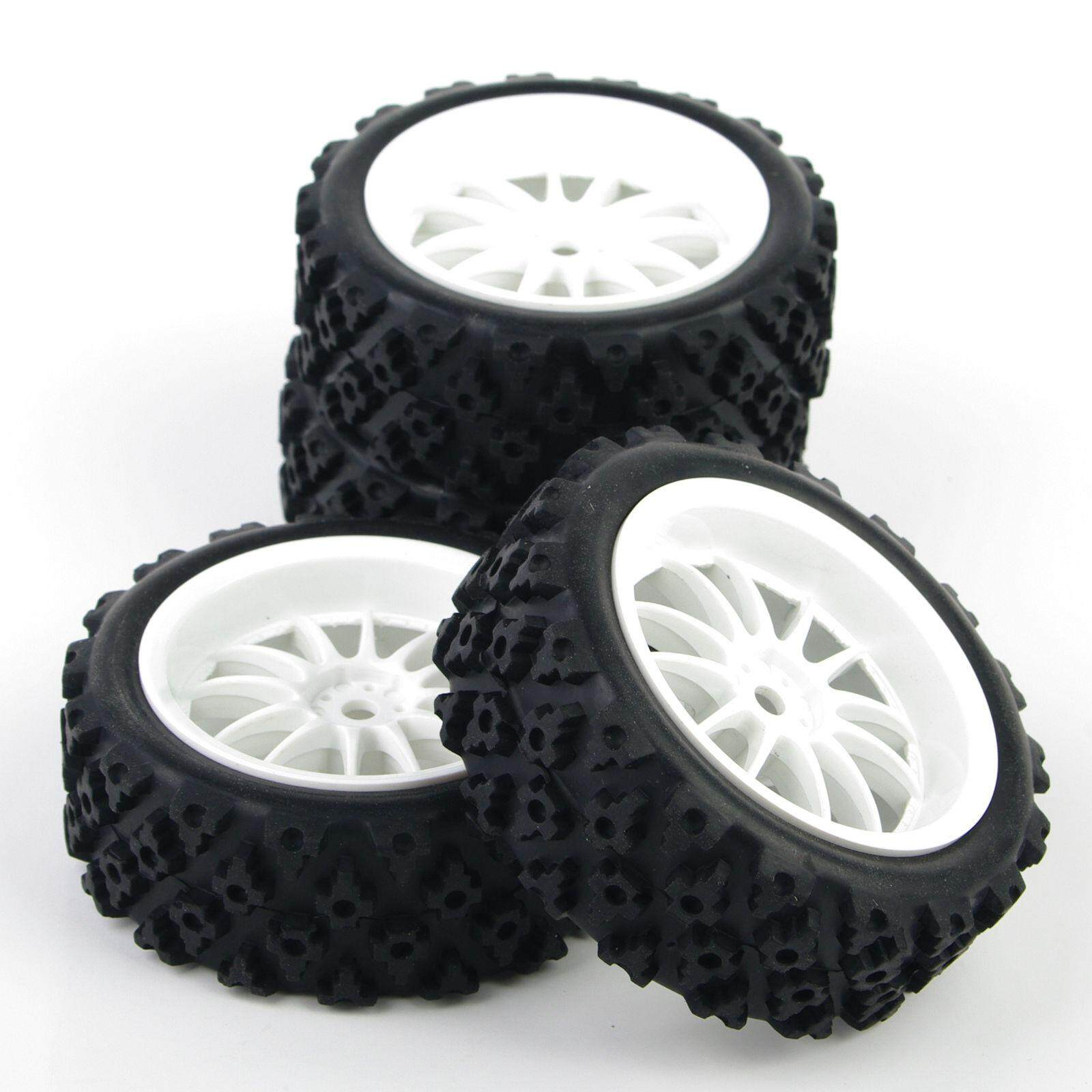 HSP HPI 1/10 RC Rally Racing Off Road Car Tyre and White Wheel 4PCS 069-487 - intl