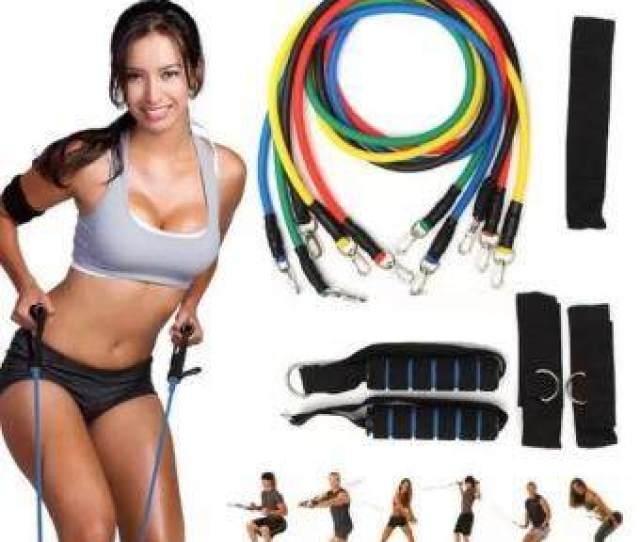 11pcs In One Set Elastic Resistance Bands Tube Exercise Band For Yoga Fitness Training