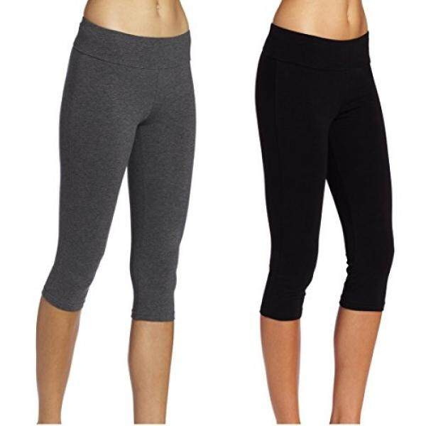Abusa Katun Yoga Capri Celana Wanita Tummy Pengendali Kerja Legging Non See-Through Kain L Blackgray-Internasional
