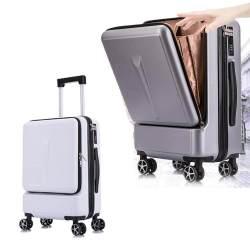 20 Inch Kreatif Flip Penutup Koper Roda dengan Tas Laptop Spinner Kabin Laptop Trolley Wanita/Pria Membawa Bisnis Koper Perjalanan Roda