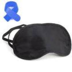 100% Polyester Eye Mask/Sleep Mask with Polyester Floss Filling-Black +Free Cable Tie