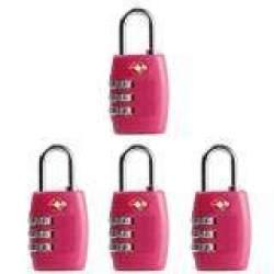 4 BH Kunci TSA 3 Digit Bisa Diatur Ulang Kombinasi Koper Koper Perjalanan (Merah Muda)