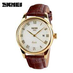 SKMEI Brand Men Business Watch Couple Quartz Watches Fashion Luxury Genuine Leather Strap Fashion Watches Jam tangan lelaki 9058