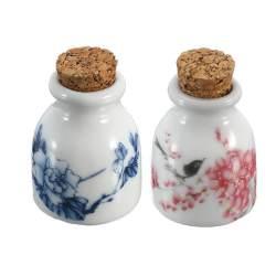 1 Buah PEONY/Magpie Keramik Mini Kaca Dappen Mangkuk Makan Cangkir dengan Penutup Kayu Cairan Akrilik Bubuk Glitter Botol Seni Hias Kuku Swakarya Alat