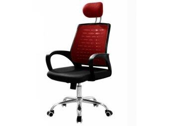 swivel chair lazada bean bag cover deluxe high back mesh office (red) | malaysia