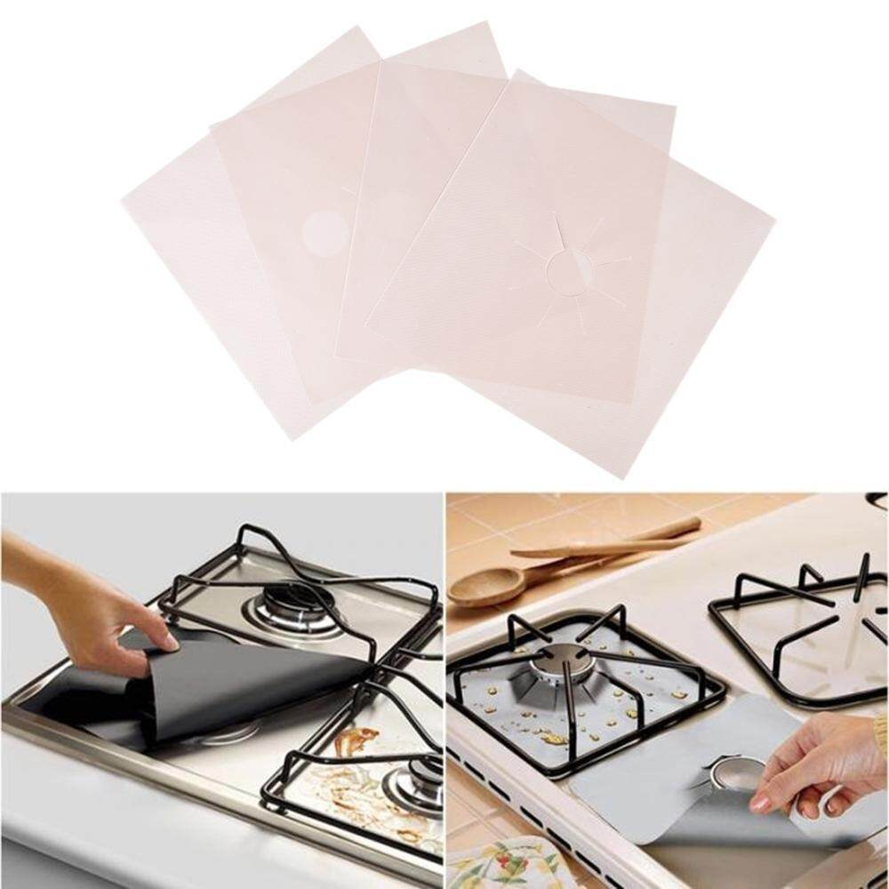 niceEshop Reusable Gas Hob Protector Teflon Sheet Pack Of 4, Hob Stove-top Burner Covers, Universal Heavy Duty Oven Liner, Non-Stick Foil, Lining Easy Clean, FDA-Approved, - intl