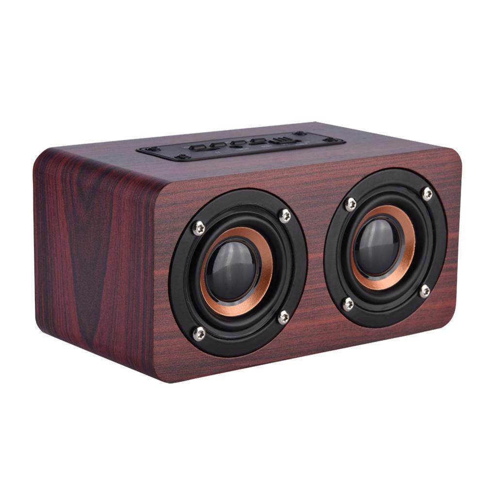 Mini Portable Wooden Bluetooth Speaker Wireless Stereo with 2 Horn - intl