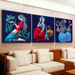 Images Of Living Room Wall Decor Shelf Units For Rooms Design Sale Art Prices Brands Review In Diy 3 Pieces Full Diamond Embroidery Traditional Style Colourful Beautiful Girl Woman