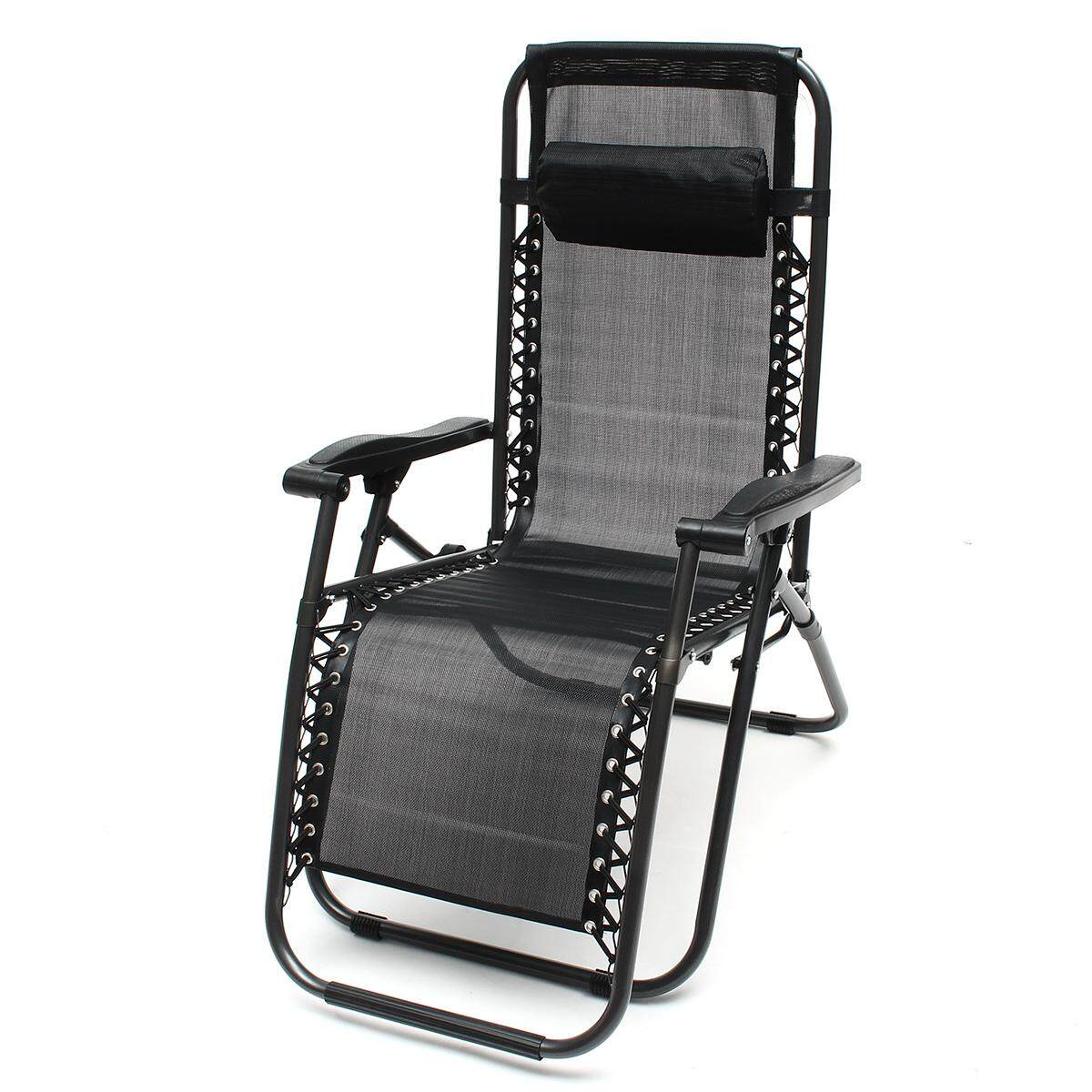 Zero Gravity Portable Reclining Lounge Folding Outdoor Camping Beach Chair Black - intl