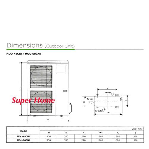 small resolution of indoor dimension w x d x h 840 x 840 x 245 mm 27kg