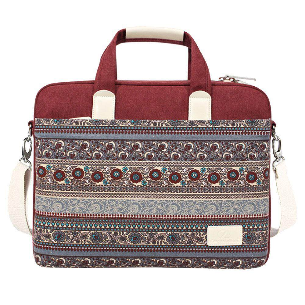 nonof National Style Pop Style Shoulder Bag Portable Computer Bag 15 Inch Notebook Canvas Bag(Red) - intl