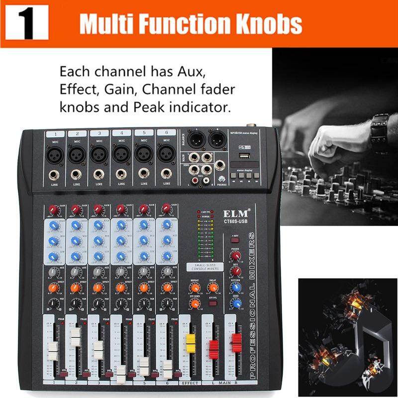 CT60S 6 Channel Professional Live Studio Audio Mixer Console - intl
