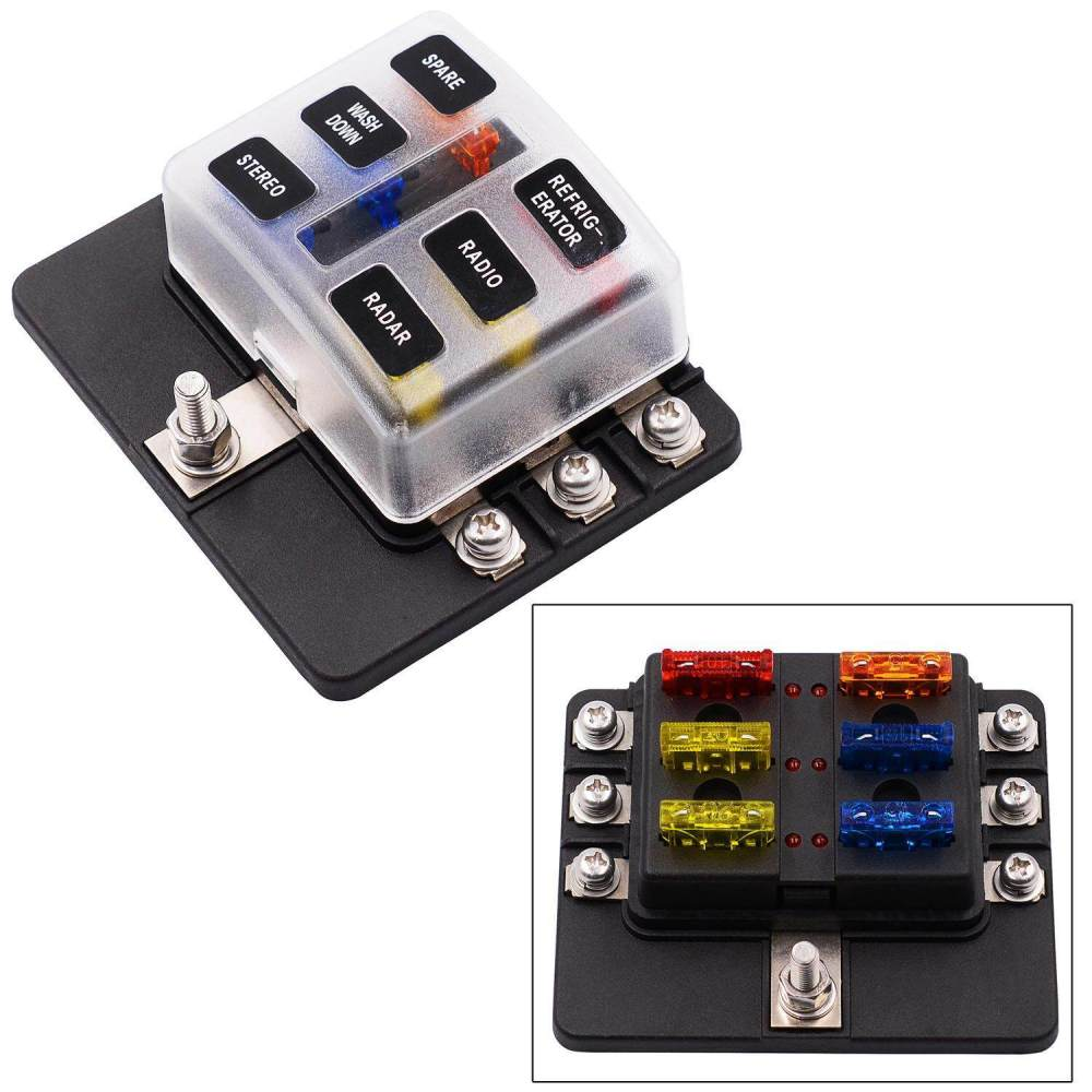 medium resolution of niceeshop fuse block 6 way blade fuse box holder with led warning light kit