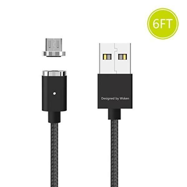 Almm WSKEN Magnetik Mikro Usb Kabel-Android Pengisi Daya Data Sinkronisasi Indikator LED Transmisi Tampilan Cepat Pengisian 6ft Pengisian Daya Kabel untuk Kindle, samsung, HTC, LG, PS4, MP3 Kamera, Bank Daya Dll (Hitam)-Internasional