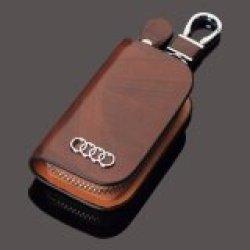 1 Buah Sarung Kunci Mobil Kulit Asli Dompet Kunci Mobil untuk AUDI A3 A4 A5 A6 A7 A8 A1 Q3 Q5 Q7 TT 80 R8