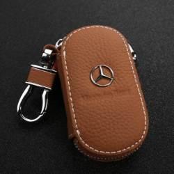 1 Buah Dompet Kunci Kulit Casing Kunci Mobil Gantungan Kunci Mobil Kulit untuk Benz W220 W210 W203 W204 W163 W639 W638 W210 W211 W202 W117 Penutup Kunci Mobil Kulit Pria & Wanita