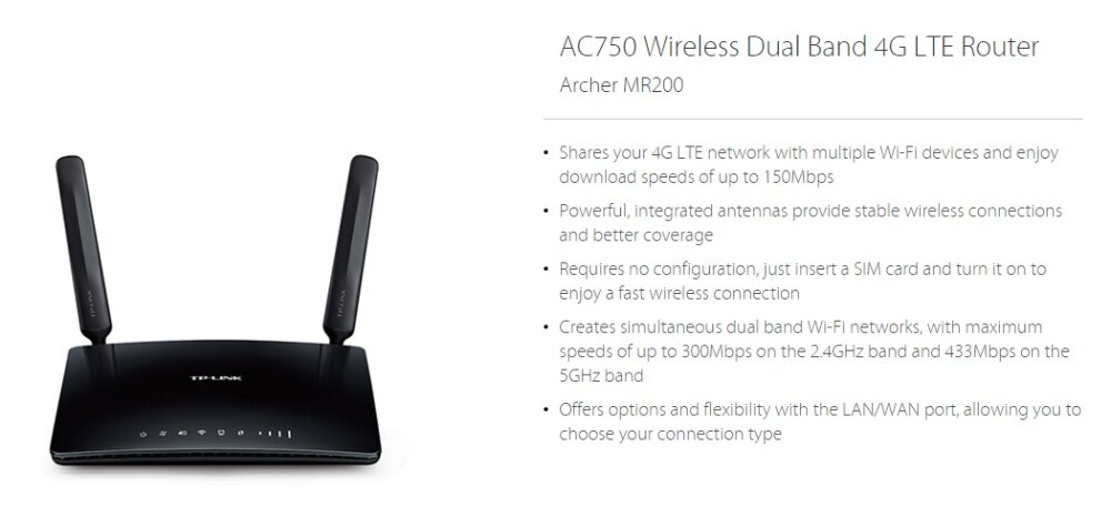 TP-LINK MR200 AC750 Wireless Dual Band 4G LTE WiFi SIM