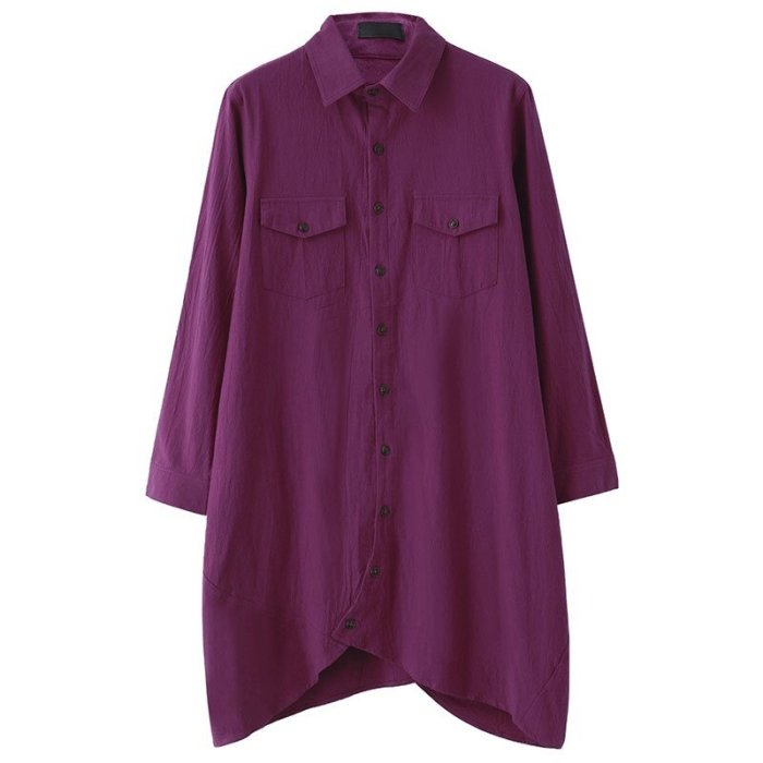 ZANZEA Women Autumn Vintage Lapel Cotton Long Shirts