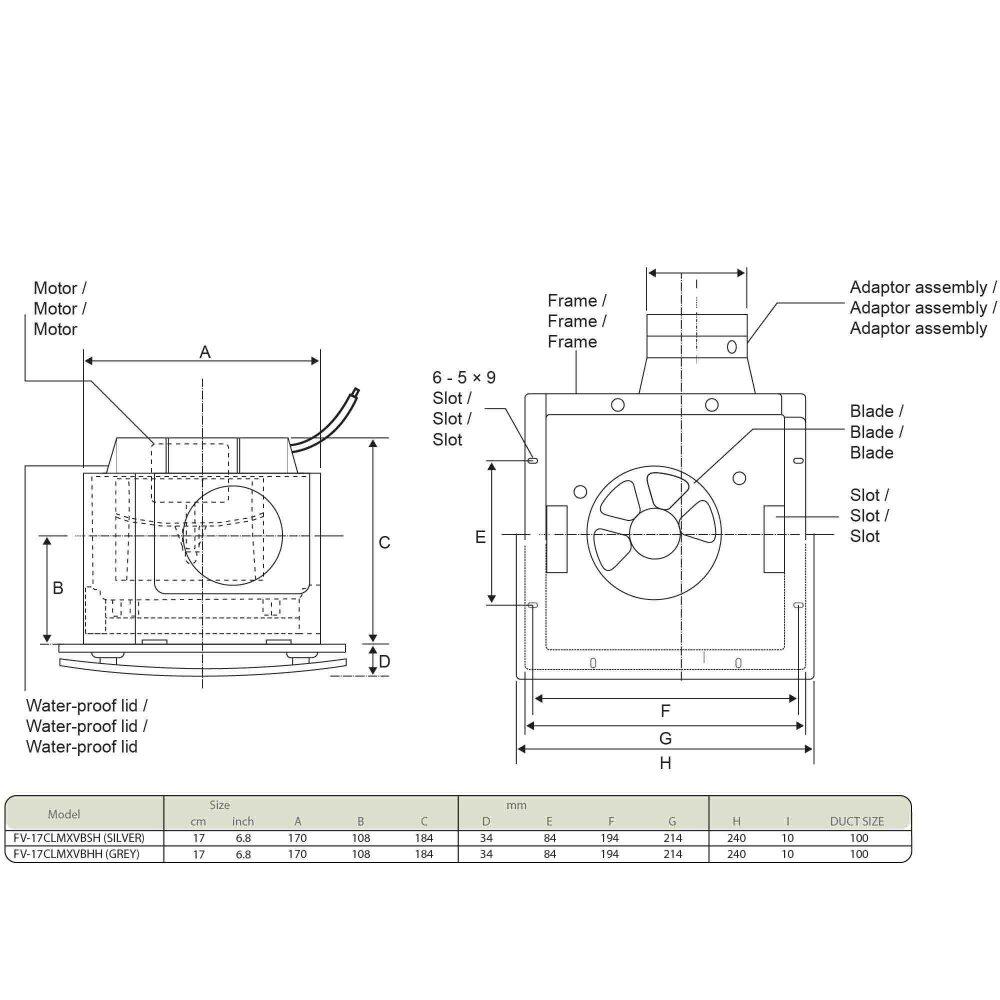 Panasonic Ceiling Mount Sirocco Ventilation Fan FV