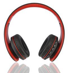 4 in 1 function wjs foldable stereo wireless bluetooth headphone foldable edr earphone headset red black  [ 1000 x 1000 Pixel ]