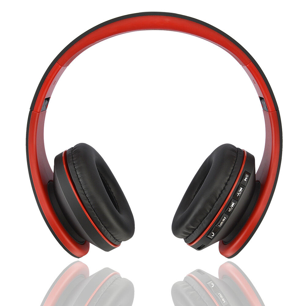 hight resolution of  4 in 1 function wjs foldable stereo wireless bluetooth headphone foldable edr earphone headset red black