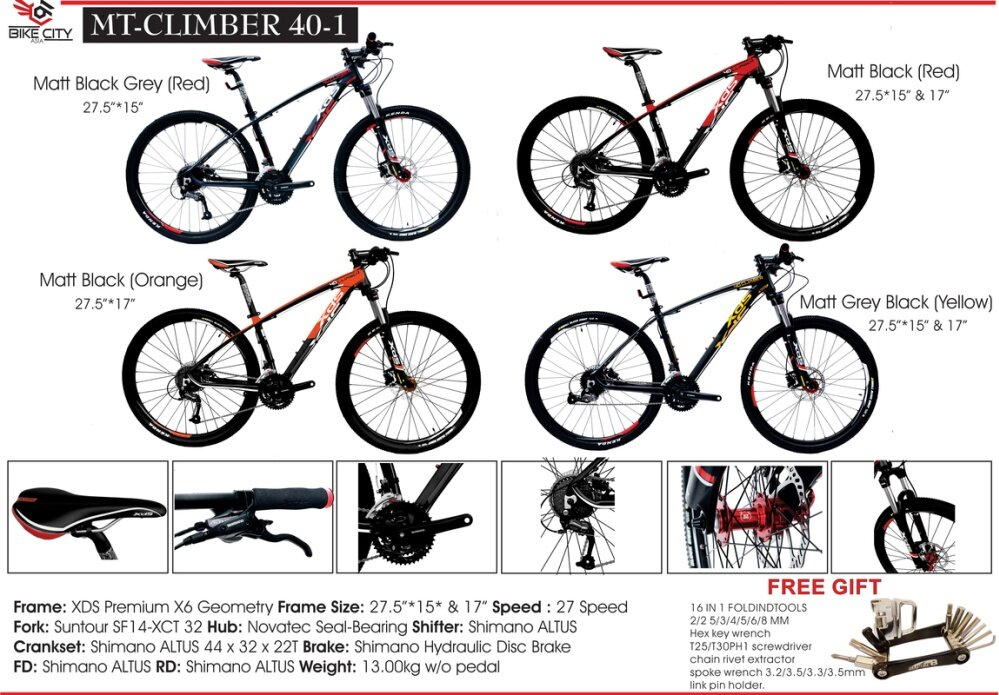 XDS Mountain Bike MT-Climber 40-1 Matt Black Red 27.5 Inch