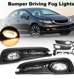 generic for honda civic 4dr sedan 13 15 bumper driving fog light w switch bulb wirings [ 1000 x 1000 Pixel ]