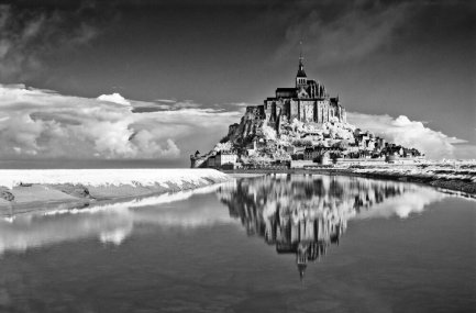 Mont Saint-Michel, medieval Benedictine abbey, founded in 708, on the gulf of Saint Malo, France