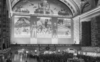 New York Grand Central Station; covered with advertisements for War Bonds during World War Two, New York City, circa 1940-1945. (Photo by Anthony Potter Collection/FPG/Getty Images)