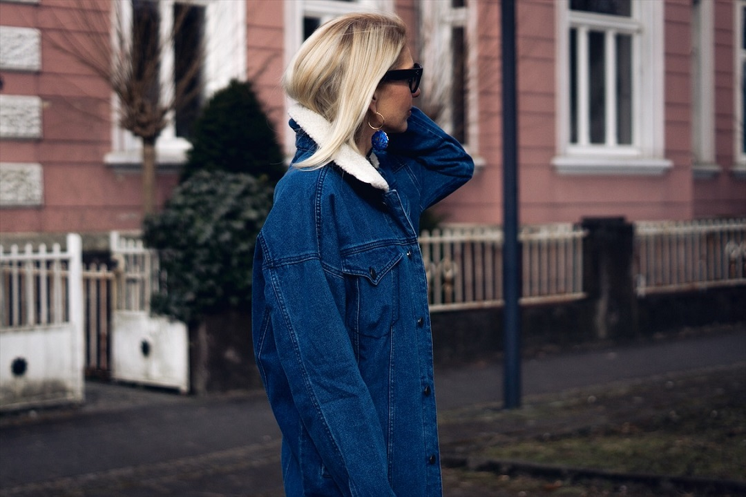 Blue denim jacket for March