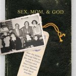 book jacket with family photo and Bible verse