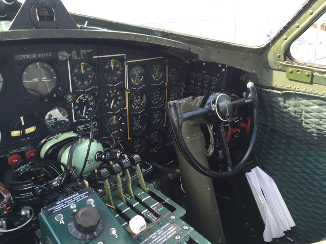 looking towards co-pilot seat on B-17