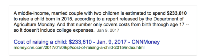 cost of bring up a baby until age 17 is over two hundred twenty eight thousand dollars no college included