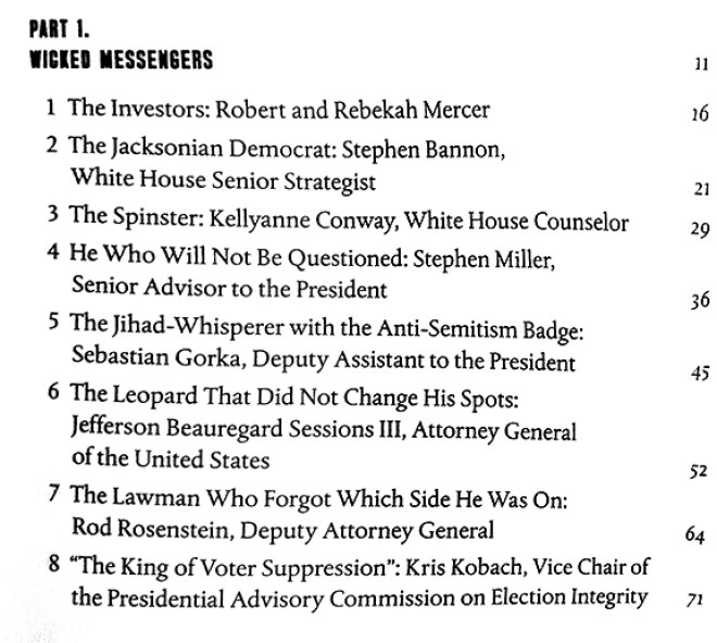 Table of Contents with names of deplorables serving Trump